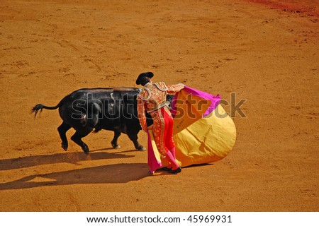 "SEVILLE - APRIL 30: Bullfighter David Fandila ""El Fandi"" during the first stage of a bullfight at the Plaza de Toros de Sevilla April 30, 2009 in Seville, Spain. - stock photo"
