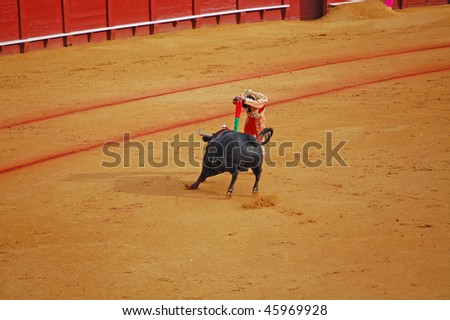 "SEVILLE - APRIL 30: Bullfighter David Fandila ""El Fandi"" sticks the banderillas into the bull at the Plaza de Toros de Sevilla April 30, 2009 in Seville, Spain."