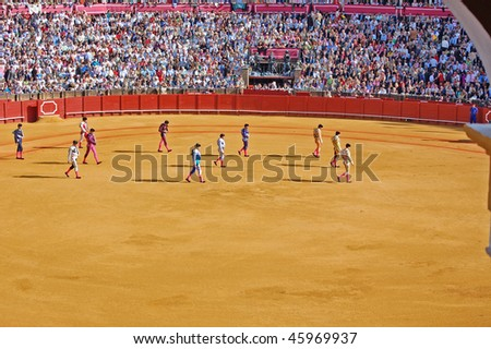 SEVILLE - APRIL 30:Bullfighters march into the ring at the at the Plaza de Toros de Sevilla April 30, 2009 in Seville, Spain.