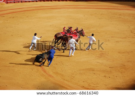 "SEVILLE - APRIL 30: The dead bull is dragged from the ring after Bullfighter David Fandila ""El Fandi"" kills him for a sold out crowd at the Plaza de Toros de Sevilla April 30, 2009 in Seville, Spain."