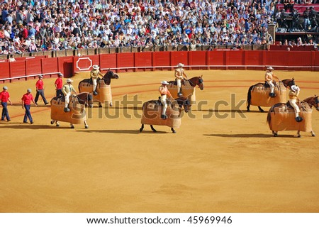 SEVILLE - APRIL 30:The picadors march into the ring at the at the Plaza de Toros de Sevilla April 30, 2009 in Seville, Spain.