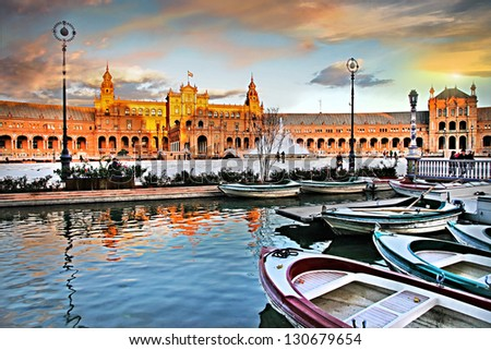 Seville, beautiful plaza Espana on sunset - stock photo