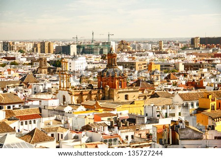 Seville cityscape from La Giralda of Seville cathedral in Sevilla , Spain - stock photo