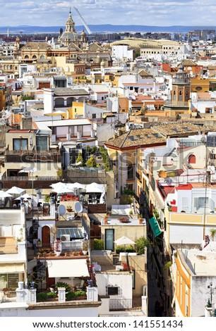 Seville cityscape from La Giralda of Seville cathedral in Sevilla, Spain - stock photo
