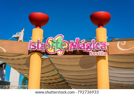 SEVILLE, ES - JULY 28, 2017: Isla Magica is a theme park located in Seville, set in the discovery of America and inaugurated in 1997.