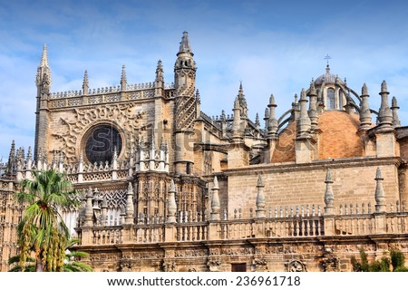 Seville in Andalusia, Spain. Famous cathedral. UNESCO World Heritage Site. - stock photo