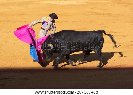 """Seville - May 16: Spanish torero is performing a bullfight at the bullfight arena on May 16, 2010 in Seville (Spain). """"Corrida"""" (bullfighting) of bulls is Spanish tradition. - stock photo"""