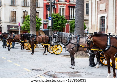 SEVILLE, SPAIN - APR 14, 2014:  Horse carriage in the Old Town of Seville. Seville is the capital and largest city of the autonomous community of Andalusia