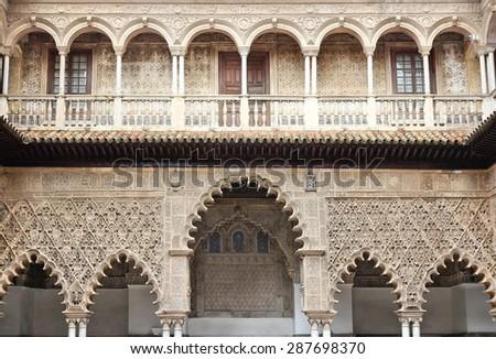 Seville, Spain - architecture of the Alcazar, UNESCO World Heritage Site. Moorish style. - stock photo