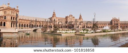 SEVILLE, SPAIN - AUG 10: Panoramic view of Plaza de Espana on August 10, 2011 in Seville. Plaza de Espana was designed by Anibal Gonzalez for the Ibero-American Exposition World's Fair.