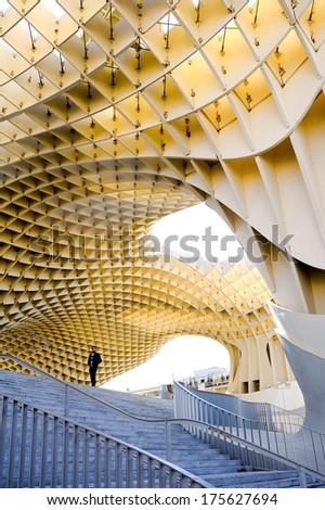 SEVILLE , SPAIN - FEB 23: Metropol Parasol - modern architecture on Plaza de la Encarnacion on Feb 23, 2012 in Seville, Spain.  - stock photo