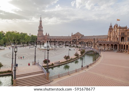 SEVILLE, SPAIN - JUNE 28, 2016: Aerial view of Spain Square (Plaza de Espana) in Maria Luisa Park, built in 1928 for the Ibero-American Exposition of 1929.