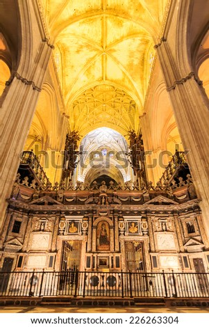 SEVILLE, SPAIN - JUNE 5: Interior of Cathedral of Seville on June 5, 2014 in Seville, Spain. World Heritage Site since 1987, It is the largest Gothic in the world.
