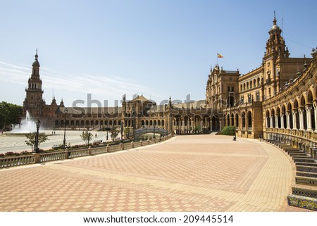 Seville, Spain - June 29: The famous Plaza de Espana in Seville, Spain on June 29, 2014. The Plaza is a major tourist attraction, built in 1928.