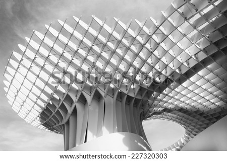 SEVILLE,SPAIN -March 2014: Metropol Parasol building in Plaza de la Encarnacion, Seville, Spain. The largest wooden structure in the world. Photo taken on March 16th in Seville, Spain