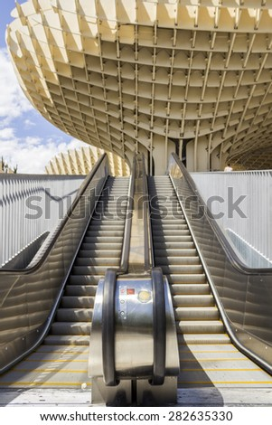 SEVILLE, SPAIN - MAY 2014: Graphic detail of Metropol Parasol in Plaza de la Encarnacion on 31 of May 2014 in Sevilla,Spain. A new Seville Market Hall and attractive destination. - stock photo