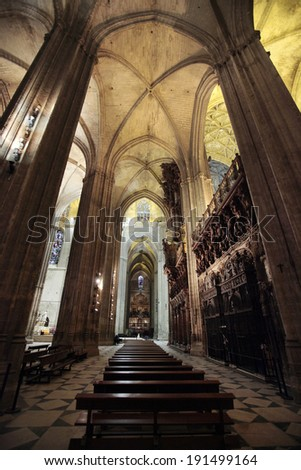 SEVILLE, SPAIN � NOVEMBER 4, 2010 �The famous cathedral of Seville, Spain, is one of many places claiming to be the elusive burial spot of Christopher Columbus. - stock photo