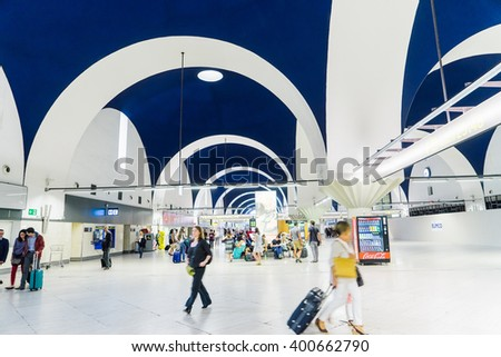 SEVILLE, SPAIN - OCTOBER 2, 2015: The arcades in the airport of Sevilla. - stock photo