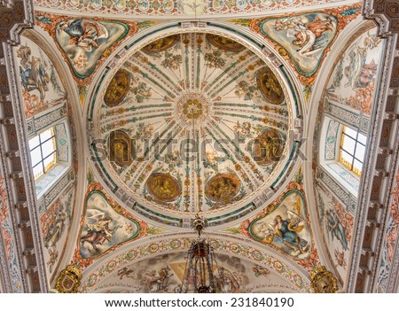 SEVILLE, SPAIN - OCTOBER 28, 2014: The baroque fresco in cupola of church Hospital de los Venerables Sacerdotes by Juan de Valdes Leal (1622 - 1690).  - stock photo