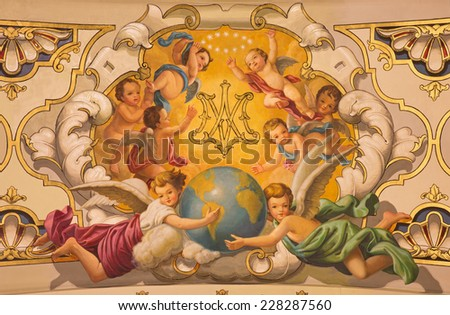 SEVILLE, SPAIN - OCTOBER 29, 2014: The fresco angels and the monogram of Virgin Mary on the ceiling in church Basilica de la Macarena by Rafael Rodrguez (1949) in neobaroque style. - stock photo