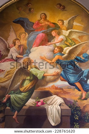 SEVILLE, SPAIN - OCTOBER 28, 2014: The neo - baroque fresco of Assumption of Virgn Mary in the presbytery of church Capilla Santa Maria de los Angeles by Rafael Rodriguez Hernandez from 20 cent.  - stock photo