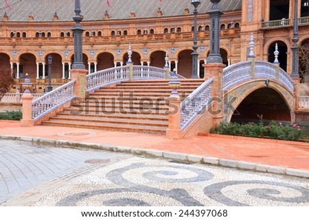 Seville, Spain - Plaza de Espana. Beautiful Old Town. - stock photo