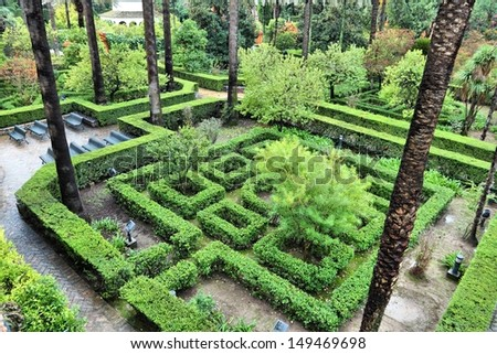 Seville, Spain - Royal Alcazar gardens, famous UNESCO World Heritage Site. - stock photo