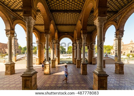 SEVILLE, SPAIN - September 7, 2016: Plaza de Espana in Seville, Spain.
