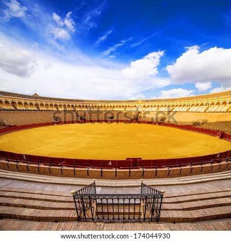 SEVILLE, SPAIN - SEPTEMBER 18: Plaza de toros de la Real Maestranza de Caballeria on September 18, 2013 in Seville, Spain. Also called Plaza de Toros of Seville, it is the oldest Spanish bullring  - stock photo
