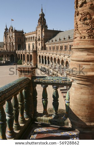 Seville - The Spanish Square La Plaza de Espana - It was built for of the Ibero-american Exhibition of 1929, held in Seville - Spain - stock photo