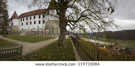 Sevnica, Slovenia - November 10, 2016: panorama of the fortress in Sevnica , which is the hometown of Melania Trump, wife of the President-elect of the United States, Donald Trump.