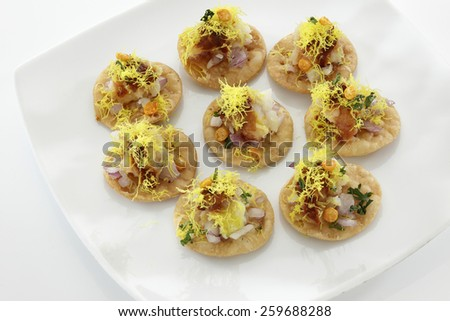 Sevpuri, Chat food, India - stock photo