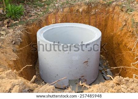 Sewage drainage system construction - stock photo