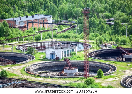 Sewage treatment plant with settlers, top view - stock photo