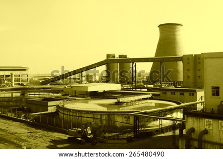 sewage treatment plants and thermal power plant, in the YongXin paper company, November 20, 2013, tangshan city, hebei province, China.   - stock photo