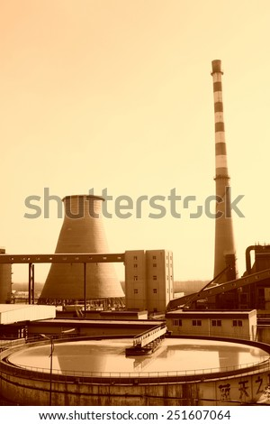 sewage treatment plants and thermal power plant, in the YongXin paper company, tangshan city, hebei province, China.   - stock photo
