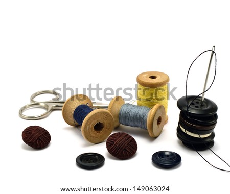 Sewing Accessories on a white background - stock photo