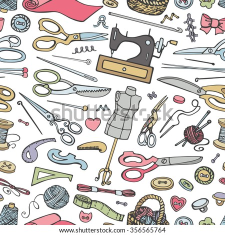 Sewing and needlework doodle seamless pattern.Vintage Colored hand drawing sketch.Doodle isolated object.Hand made supplies,knitt equipment.Design template,background,wallpaper,textile,wrap,wallpaper - stock photo