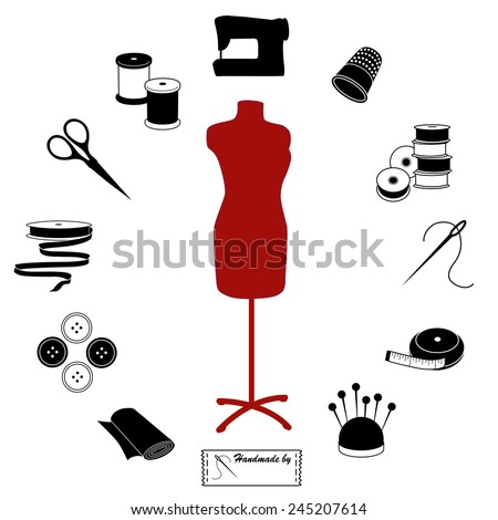Sewing and Tailoring Icons. Fashion model with tools and supplies for do it yourself sewing, tailoring, dressmaking, needlework and crafts, black and white circle design.  - stock photo