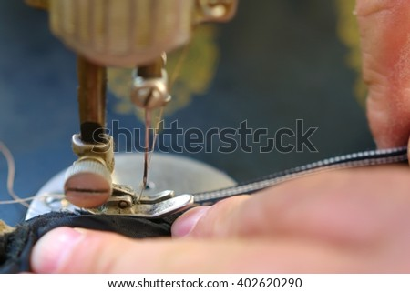 Sewing and tailoring of sewing machine - stock photo