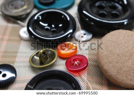 sewing buttons - stock photo