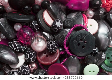 Sewing buttons background close up  . Plastic buttons, Colorful buttons background, Buttons close up, Buttons background - stock photo