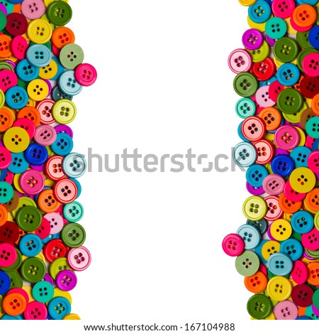 Sewing buttons background with copy space. Colorful sewing buttons isolated on white background - stock photo