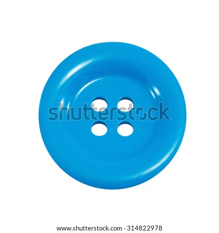 Sewing buttons, Plastic buttons, Colorful buttons, Buttons close up, Blue sewing button isolated on white background. - stock photo