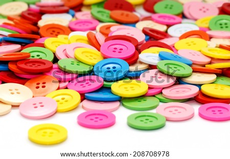 Sewing buttons, Plastic buttons, Colorful  buttons, Clasper close up, buttons background - stock photo