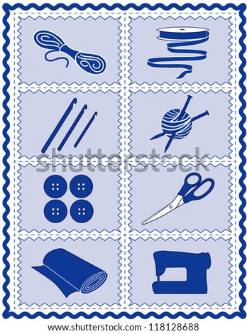 Sewing, Craft Tools for knit, crochet, tailoring, fashion, quilting, do it yourself hobbies: needles, hooks, yarn, buttons, scissors, machine, ribbon, cloth, isolated on blue, rick rack frame border. - stock photo