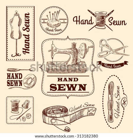 Sewing emblems hand drawn set with tailor and needlework elements isolated  illustration - stock photo