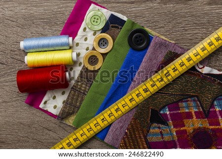 sewing equipment and materials - stock photo