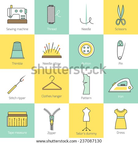 Sewing equipment and tailor needlework accessories flat line icons set with needle thread button zipper isolated  illustration - stock photo