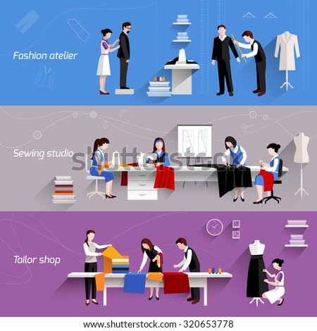 Sewing horizontal banners set with fashion atelier tailor shop elements isolated  illustration